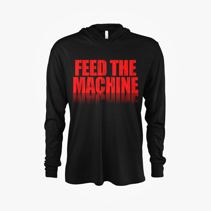Front view of Mama T's Feed The Machine Hooded Long Sleeve Shirt in Black and Red